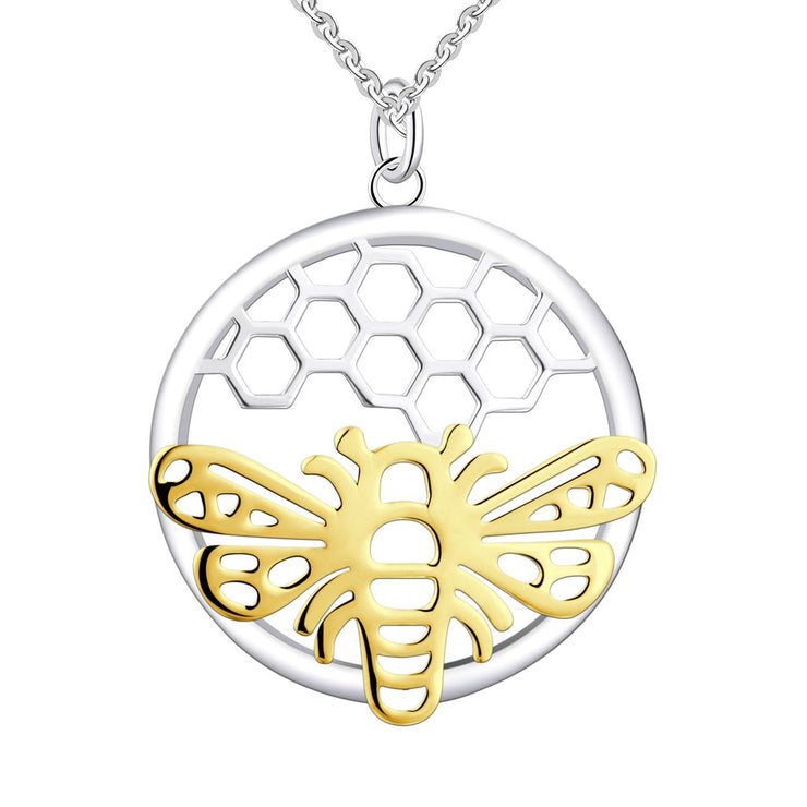 Rhodium Bee Animal 925 Sterling Silver Necklace NN12909A