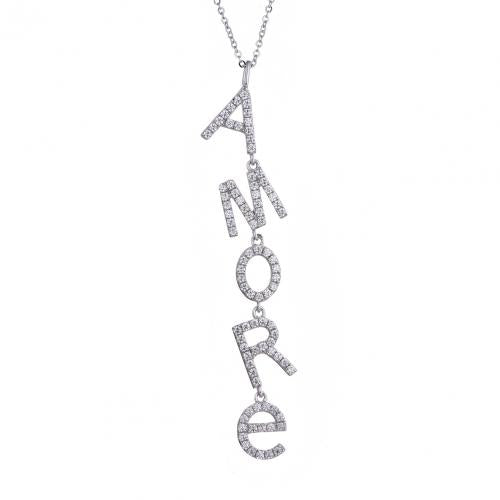 Rhodium CZ Letter Fashion 925 Silver Jewelry Necklace HN003D3A