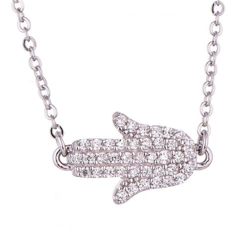 Rhodium CZ Hamsa Fashion 925 Silver Jewelry Necklace HN003D9A