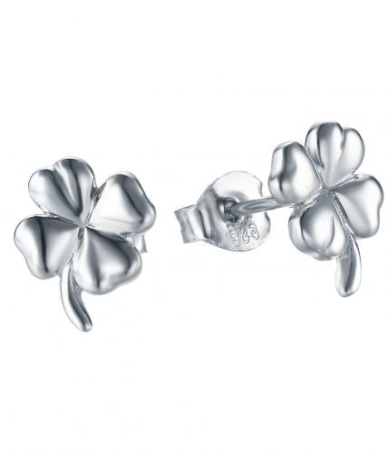 Rhodium Stud Clover Fashion 925 Silver Jewelry Earring HE00209A