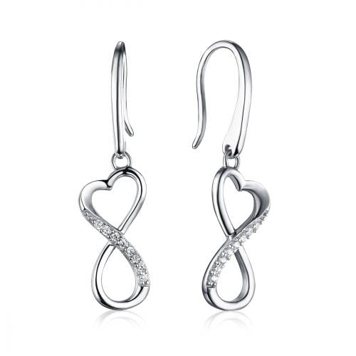 Rhodium CZ Drop Infinity 925 Sterling Silver Earring HE09603C