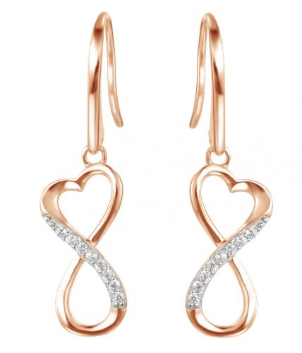 Rose Gold CZ Drop Infinity 925 Sterling Silver Earring HE09603H