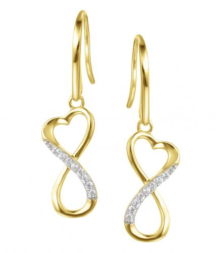 Yellow Gold CZ Drop Infinity 925 Sterling Silver Earring HE09603I