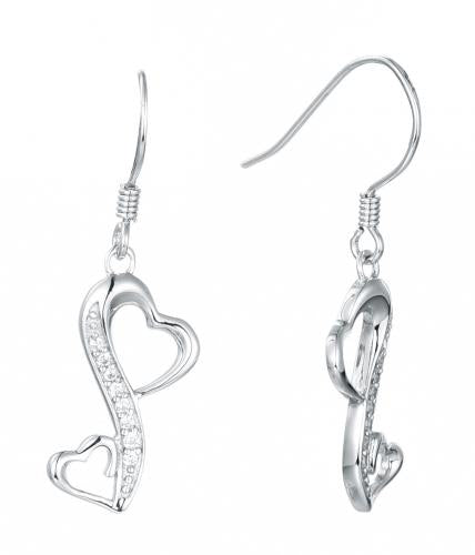 Rhodium CZ Drop Infinity 925 Sterling Silver Earring HE09609A