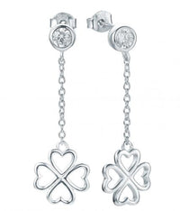 Rhodium CZ Long Clover Fashion 925 Sterling Silver Earring HE21004A