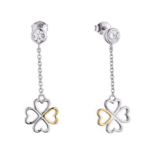 Yellow Gold CZ Long Clover Fashion 925 Sterling Silver Earring HE21004B