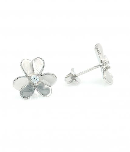 Rhodium CZ Stud Clover Fashion 925 Sterling Silver Earring HE25501A