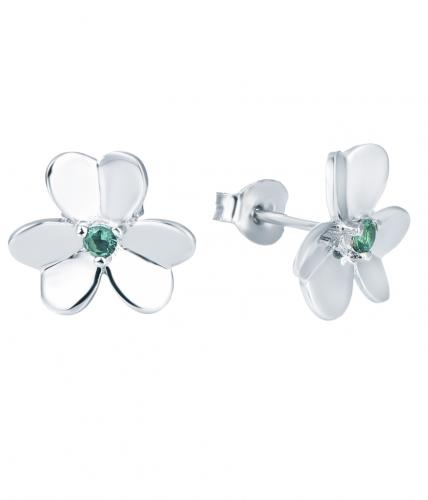 Rhodium CZ Stud Clover Fashion 925 Sterling Silver Earring HE25501B