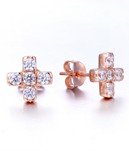 Rose Gold CZ Stud Cross 925 Sterling Silver Earring HE25901A
