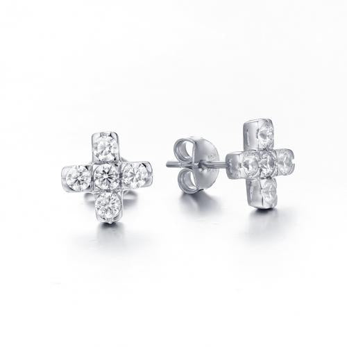 Rhodium CZ Stud Cross 925 Sterling Silver Earring HE25901F