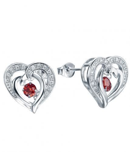 Rhodium Ruby Stud Heart Dancing 925 Silver Jewelry Earring HE26609C