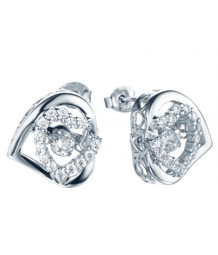Rhodium CZ Stud Heart Dancing 925 Silver Jewelry Earring HE32506A