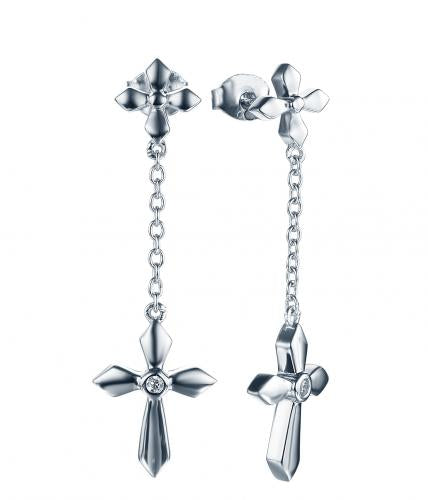 Rhodium CZ Long Cross 925 Sterling Silver Earring HE35603A