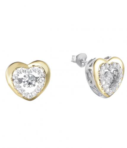 Yellow Gold CZ Stud Heart Dancing 925 Silver Jewelry Earring HE36200A