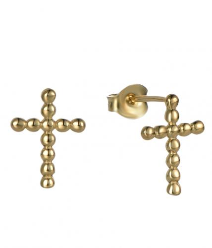 Yellow Gold Stud Cross 925 Sterling Silver Earring HE36207A