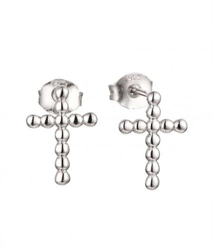 Rhodium Stud Cross 925 Sterling Silver Earring HE36207B