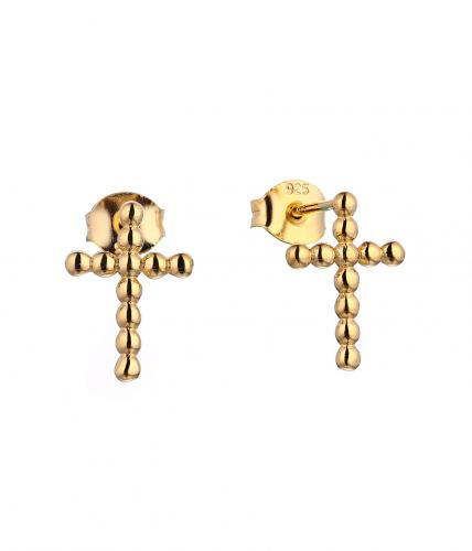 Yellow Gold Stud Cross 925 Sterling Silver Earring HE36207D