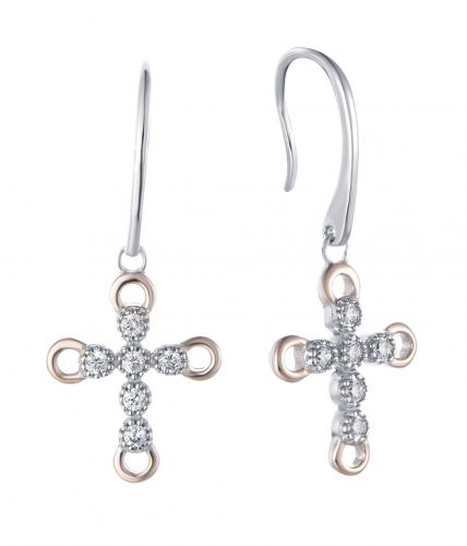 Rhodium CZ Drop Cross 925 Sterling Silver Earring HE36409A
