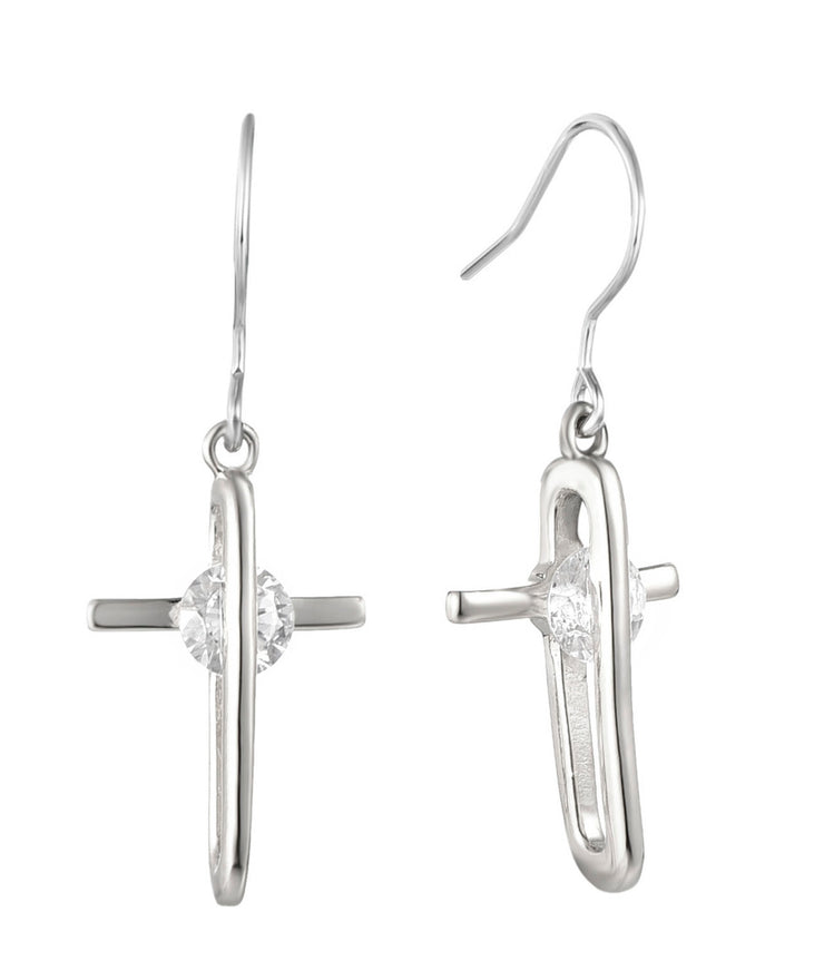 Rhodium CZ Drop Cross 925 Sterling Silver Earring HE36505B