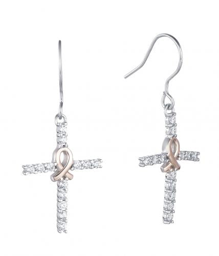 Yellow Gold CZ Drop Cross 925 Sterling Silver Earring HE36506A