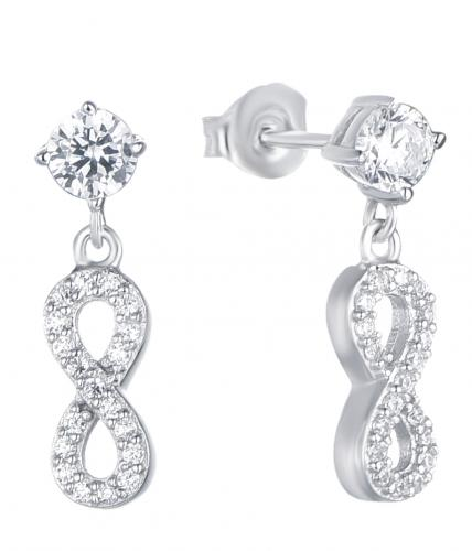 Rhodium CZ Drop Infinity 925 Sterling Silver Earring HE36900A