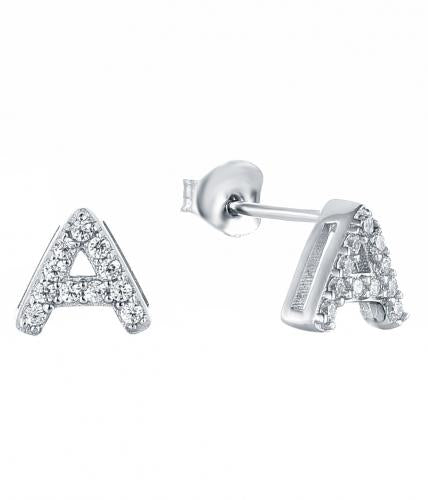 Rhodium CZ Stud Letter Fashion 925 Silver Jewelry Earring HE37502A