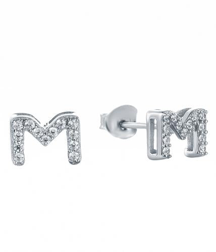 Rhodium CZ Stud Letter Fashion 925 Silver Jewelry Earring HE37503A