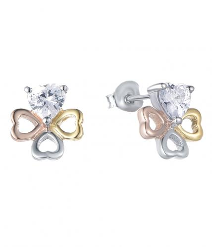 Yellow Gold CZ Stud Clover Fashion 925 Silver Jewelry Earring HE37603A