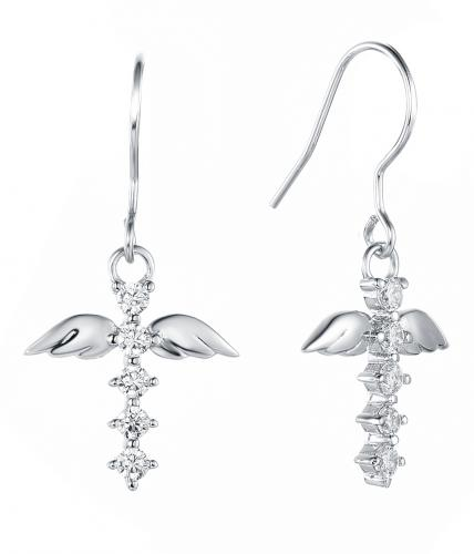 Rhodium CZ Drop Cross 925 Sterling Silver Earring HE37803A