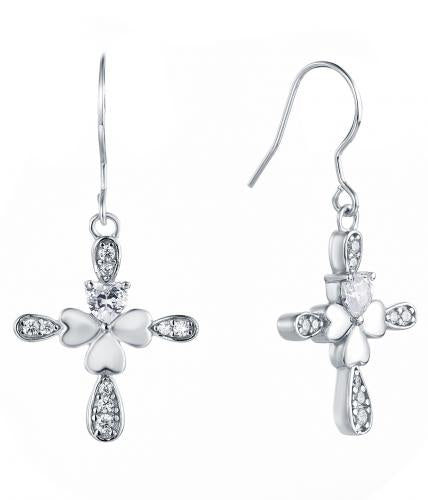 Rhodium CZ Drop Cross 925 Sterling Silver Earring HE38000A
