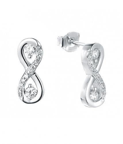 Rhodium CZ Stud Infinity 925 Sterling Silver Earring HE38105A