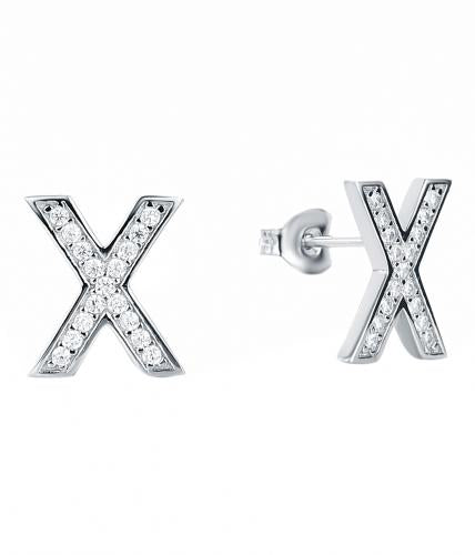 Rhodium CZ Stud Letter Fashion 925 Silver Jewelry Earring HE38201A