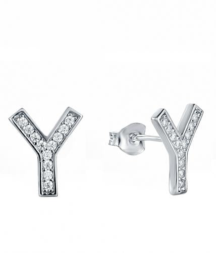 Rhodium CZ Stud Letter Fashion 925 Silver Jewelry Earring HE38202A