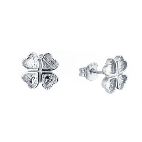 Rhodium Stud Clover Fashion 925 Silver Jewelry Earring HE38902B