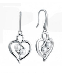Rhodium Pearl Drop Heart 925 Sterling Silver Earring HE39601A