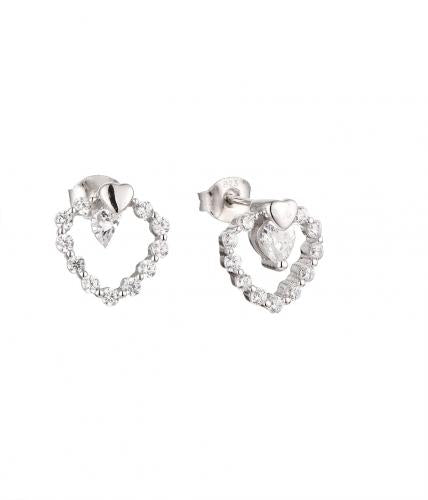 White Gold CZ Stud Heart 925 Sterling Silver Earring HE51105B