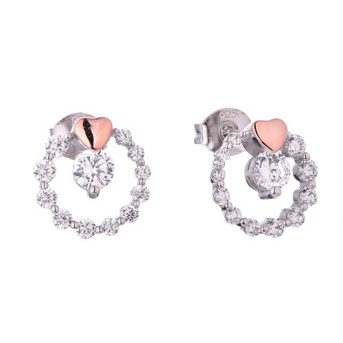 Rose Gold CZ Stud Circle Fashion 925 Sterling Silver Earring HE51106B