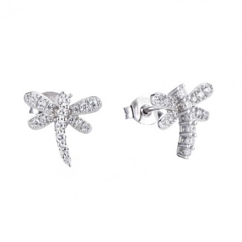Rhodium CZ Stud Dragonfly Animal 925 Silver Jewelry Earring HE51304A