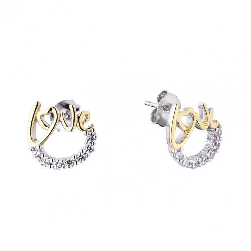 Yellow Gold CZ Stud Letter Fashion 925 Silver Jewelry Earring HE52201D