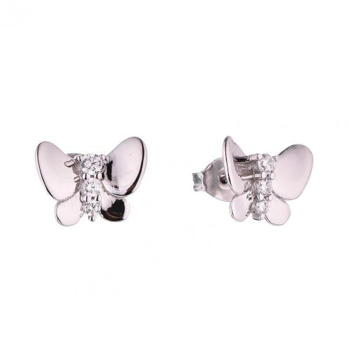 Rhodium CZ Stud Butterfly Animal 925 Sterling Silver HE52601E