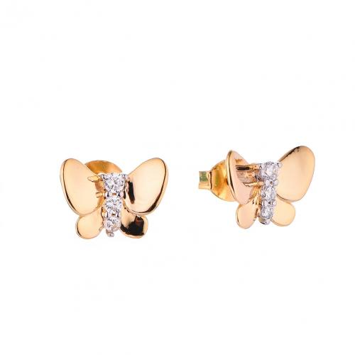 Yellow Gold CZ Stud Butterfly Animal 925 Sterling Silver HE52601G