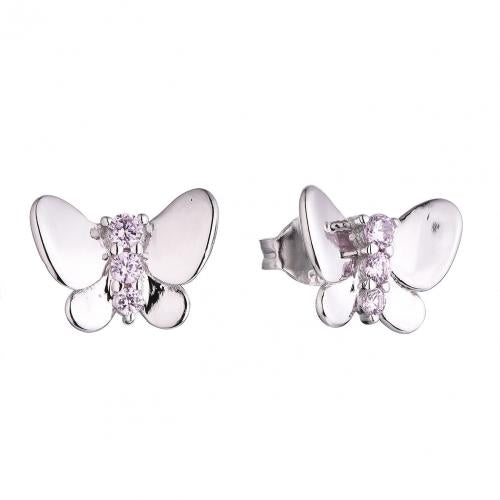 Rhodium Gemstone Stud Butterfly Animal 925 Sterling Silver HE52601I