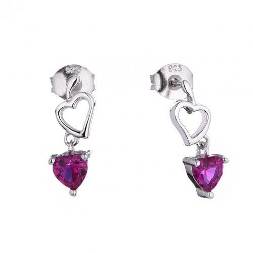 Rhodium Ruby Drop Heart 925 Silver Jewelry Earring HE53207A