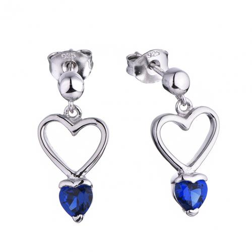 Rhodium Spinel Drop Heart 925 Silver Jewelry Earring HE53300A
