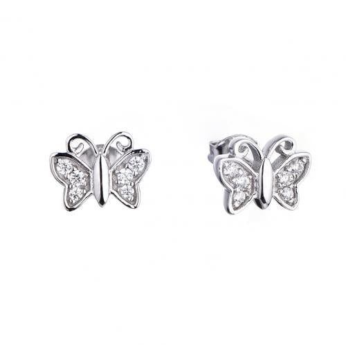 Rhodium CZ Stud Butterfly Animal 925 Sterling Silver HE53509A