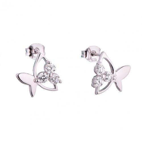 Rhodium CZ Stud Butterfly Animal 925 Sterling Silver HE55607A