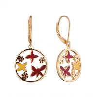 Yellow Gold Enamel Drop Butterfly Animal 925 Sterling Silver HE55905A
