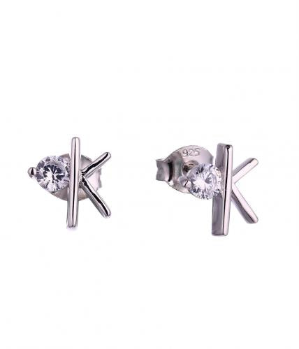 Rhodium CZ Stud Letter Fashion 925 Silver Jewelry Earring HE58009A