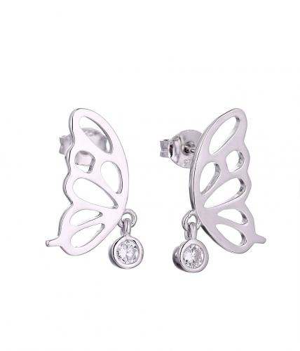 Rhodium CZ Stud Butterfly Animal 925 Sterling Silver HE58608A