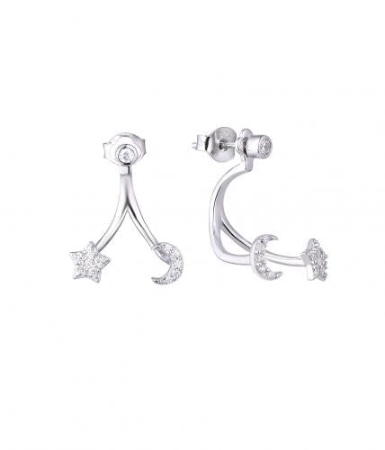 Rhodium CZ Jackets Star Fashion 925 Sterling Silver Earring HE59205A